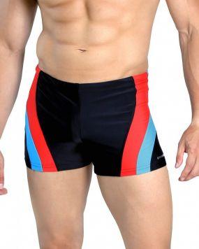 Плавки чоловічі для плавання боксери Sesto Senso сірі з помаранчевими смужками