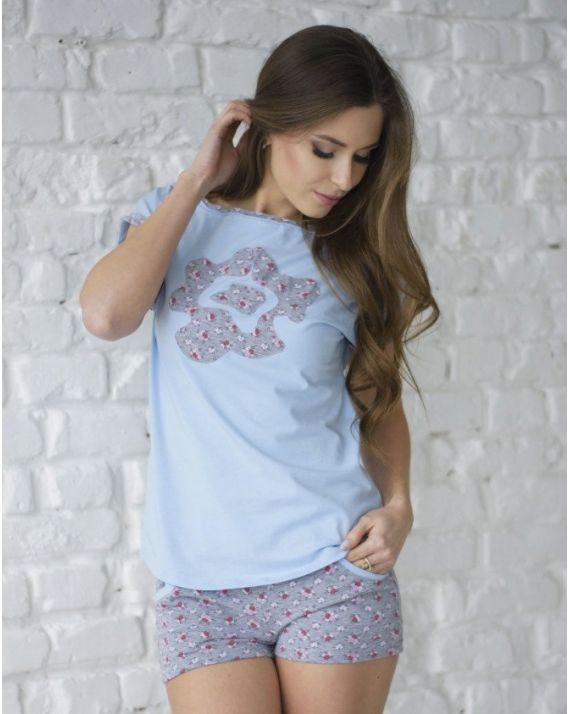 купить пижаму женскую Wiktoria W 603 цвет голубой, молочный
