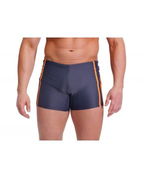 Плавки чоловічі для плавання боксери Sesto Senso сині з помаранчевими смужками