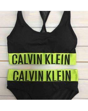 Набор женского белья Calvin Klein intense черный с зеленым CK-23