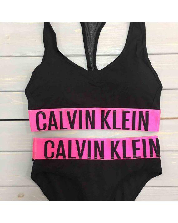 Набор женского белья Calvin Klein intense черный с розовым CK-23