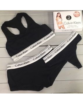 Набор женского белья Calvin Klein стринги шорты черные 19-5