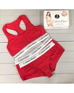 Набор женского белья Calvin Klein стринги шорты красные 19-5