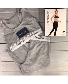Набор женского белья Calvin Klein топ и лосины серые 19-3