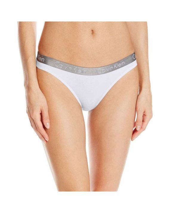 Стринги Calvin Klein с серой резинкой белые 7-5
