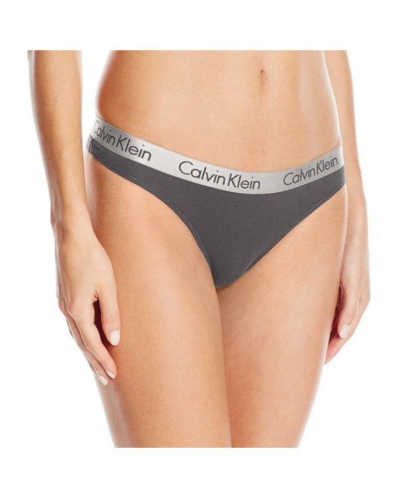 Стринги Calvin Klein с серой резинкой серые 7-5