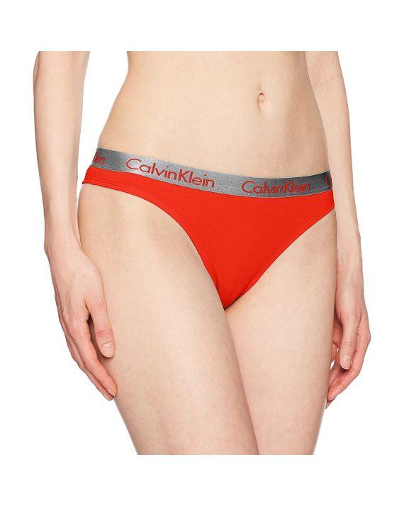 Стринги Calvin Klein с серой резинкой красные 7-5